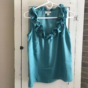 LOFT Teal Blue Tank with Ruffle Collar.